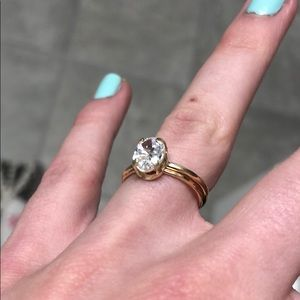 14K Gold Filled CZ Dainty Oval Solitaire Ring